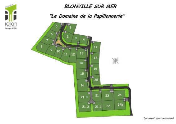 Blonville sur mer, terrain à bâtir sur le domaine de la papillonnerie, proche de Deauville